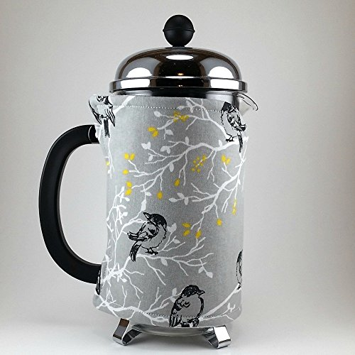 French Press Cozy Counter, 8 cup, Grey Bird Decor
