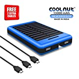 COOLNUT Exclusive Solar Power Bank 13000mAh for Mobile Apple iPhone5, 6, 6+, 6s, 6s+, Samsung, HTC, MI, Blackberry, Nokia, Moto, Asus, Lenovo, Xiaomi & all others Android and Smartphones [Free 2 Extra Micro USB Cable]