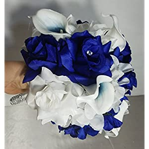 Royal Blue White Rhinestone Rose Calla Lily Bridal Wedding Bouquet & Boutonniere 61