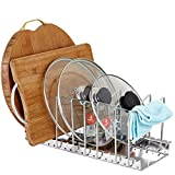 Bestwoohome Stainless Steel Pot Lid Rack Pan&Cutting Board Holder Organizer for Kitchen