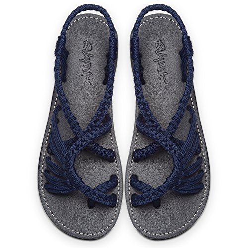 Everelax Women's Flat Sandals Blue 9B(M) US