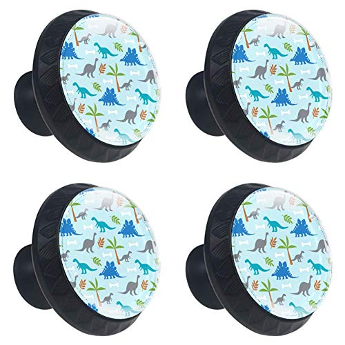 (LORVIES Dinosaurs Drawer Knob Pull Handle Crystal Glass Circle Shape Cabinet Drawer Pulls Cupboard Knobs with Screws for Home Office Cabinet Cupboard (4 Pieces))