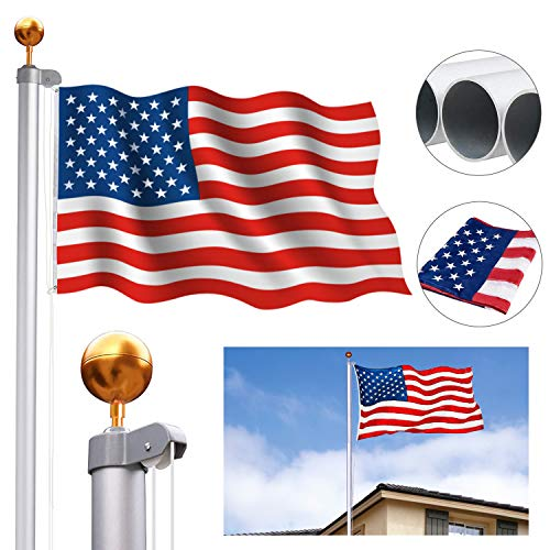CharaHome 20FT Sectional Flag Pole Kit Aluminum Halyard Flag Pole Free 3'x5' American Flag & Golden Ball Top Kit Flagpole Hardware for Commercial or Residential Ground PVC Sleeve Outdoor Garden ()