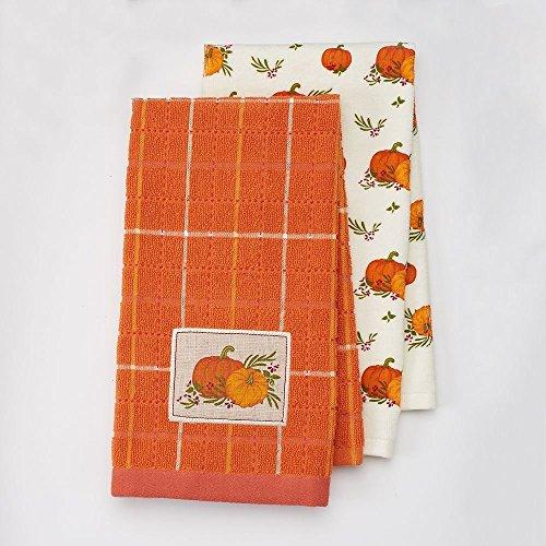 Thanksgiving Pumpkin Set (Harvest Season 2-pack Autumn Thanksgiving Pumpkin Patch Kitchen Dish Towel Set)