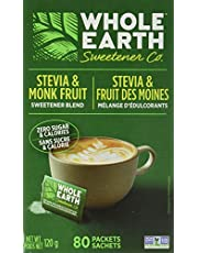 Whole Earth Sweetener Company Stevia & Monk Fruit Sweetener, Erythritol Sweetener, Sweet Leaf Stevia Packets, Sugar Substitute, Natural Sweetener, 80-Count
