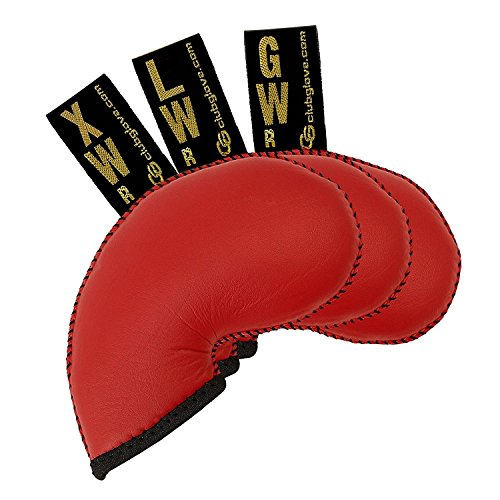 Club Glove Golf 3 Piece Regular Gloveskin Iron Covers (GW, LW, XW) (Red) (Club Glove Iron Headcovers)