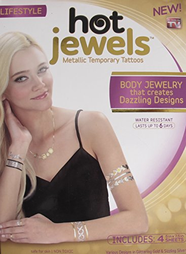 Lifestyle HOT JEWELS Box OF 4 SHEETS of METALLIC TEMPORARY TATTOOS Body Jewelry (WATER RESISTANT) w SILVER & GOLD TONES Designs Each SHEET 7.5
