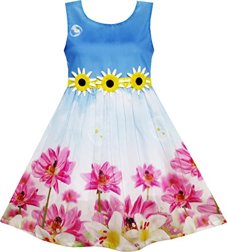 Sunflower Bubble Lily Flower Garden Print Blue Girls Dress
