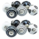 Assorted Set of 12 pcs Jay Knopf No. US12-389 black white Ceramic Porcelain pottery cabinet door and furniture knobs drawer pulls furniture handles shabby chic vintage knob