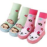 BW Non-Skid Soft Sole Slipper Socks Prewalkers For Baby Girl Infant Toddler 12-24 Months 2 Pairs D