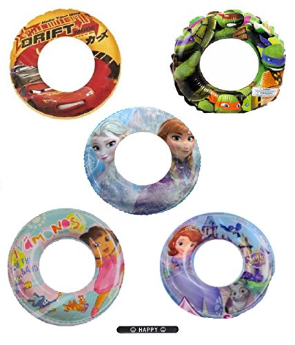 Set of 5 Ninja Turtles Frozen Lightning McQueen Sofia Disney Nickelodeon Pool Toys Inflatable Swim Ring Tube Toy for Kids Boys Girls SET OF 5 RINGS with HAPPY (Disney Costume Ideas For Teenagers)
