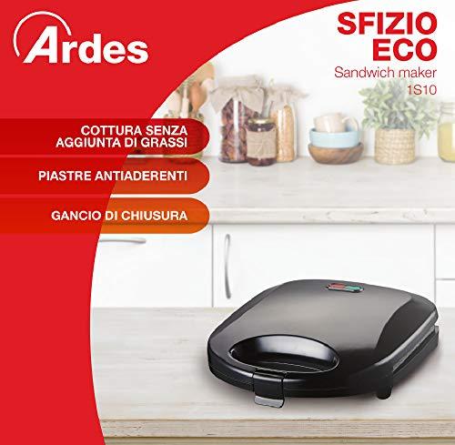 Ardes AR1S10 Sandwich / Panini Maker 2 Fette SFIZIO ECO Piastre Rigate Antiaderenti Griglia Elettrica con Spie Luminose 5