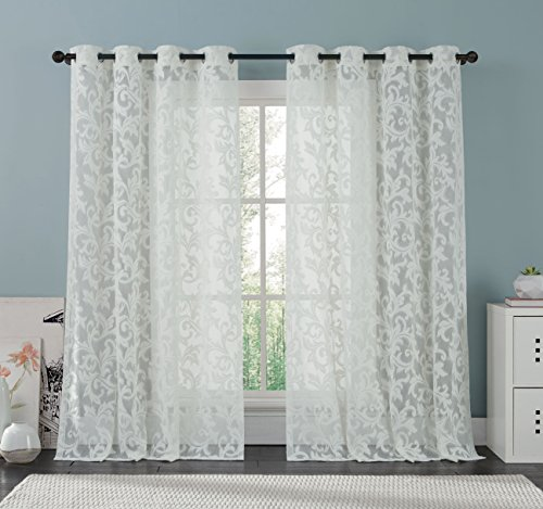 white lace curtain panel 57 x 98 inches beautifully crafted floral pattern window curtain filters the light preserves privacy athena