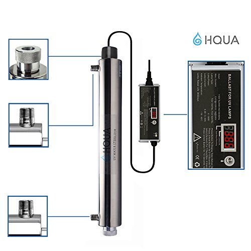 Ultraviolet Water Purifier Sterilizer Filter for Whole House Water Purification,12GPM 55W Model HQUA-UV-12GPM + 2 Extra UV Tube,With Lamp Rated Life 365 Days