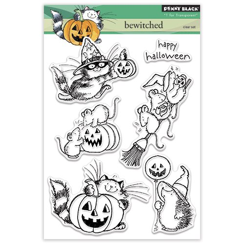 Penny Black Halloween Cards (Penny Black 30-318 Bewitched Transparent Decorative Rubber Stamp)