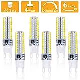 4Watt G9 LED Lamp, 40W Halogen Bulbs Equivalent Dimmable, Natural White 4000K, AC120V, 360 Degree Beam Angle,G9 Base Corn Lamp for Kitchen Pendant fixtures,Chandelier (Pack of 6)