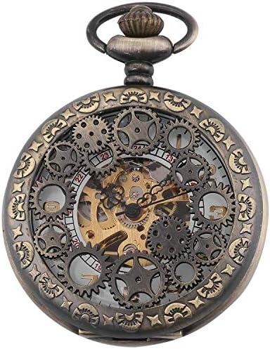 レトロなフリップ機械式懐中時計ローマンスケールメンズポケットウォッチネックレスジュエリー表学生の創造性、色名:1 (Color : 2)
