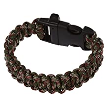 SODIAL(R) 11 Colors 550 Paracord Type III 7 Strand Parachute Cord Survival Bracelet + Whistle Buckle(Camouflage Green)
