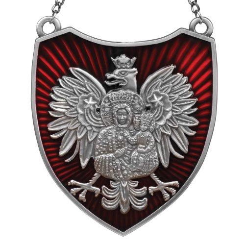 Ryngraf - Black Madonna on White Eagle, Red & Antique Silver
