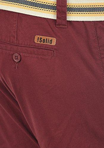 Pantalon Homme Chino Lagos solid Red Extensible Bermuda Coupe 0985 Ceinture Court Short Wine Régulaire n4ZIqqY6