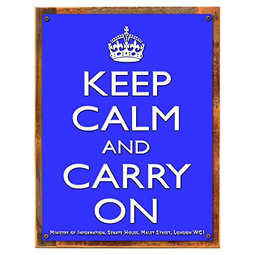 Calm Framed - Wood-Framed Keep Calm Blue Metal Sign: British Decor Wall Accent for kitchen on reclaimed, rustic wood