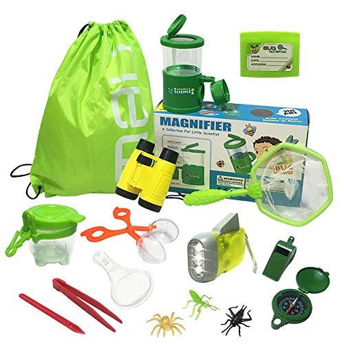 Jollysweets Outdoor Exploration Kit 16 Pcs Set, Backpack, Butterfly Net Catcher, Bug Catcher, Bug Viewer with Magnifier, Binoculars,Boy and Girl Explorer Kit.