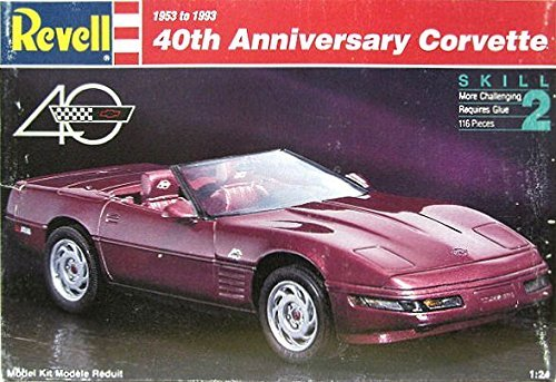 #7347 Revell 40th Anniversary Corvette 1/24 Scale Plastic Model Kit,Needs - Limited Edition Kit 40th Anniversary