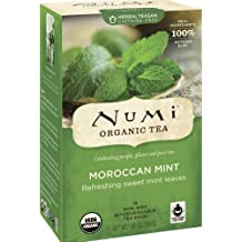 Numi Organic Tea Moroccan Mint, Full Leaf Herbal Teasan, Caffeine Free, 18 Count Tea Bags (Pack of 3)