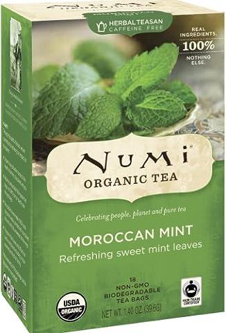 Numi Organic Tea Moroccan Mint, Full Leaf, Herbal Teasan, Caffeine Free, 18 Count non-GMO Tea Bags (Pack of - Numi Black Organic Tea