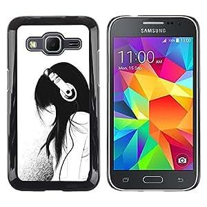 Muchacha de la música Auriculares minimalista Sad- Metal de aluminio y de plástico duro Caja del teléfono - Negro - Samsung Galaxy Core Prime