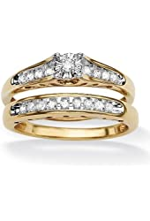 Royal Palm Jewelry 496356 1/5 TCW Round Diamond 18k Yellow Gold Over Sterling Silver Bridal Engagement Cutout Ring Set - Size 6