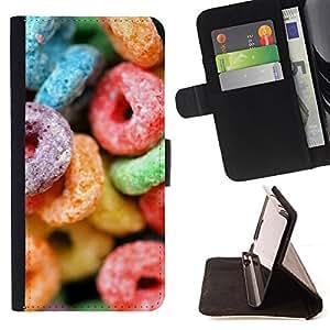 BullDog Case - FOR/Samsung ALPHA G850 / - / candy sugar sweets colorful neon rubber /- Monedero de cuero de la PU Llevar cubierta de la caja con el ID Credit Card Slots Flip funda de cuer