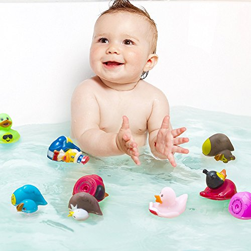 Kicko Assorted Rubber Duckies - 100 PC Bath Floater – Baby Showers Accessories – Bulk Ducks for Kids – Easter Party, Halloween Party Favors, Rubber Ducks Supplies and Favors by Kicko (Image #1)