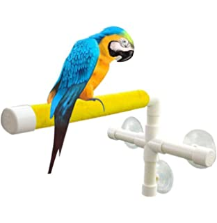 UPGRADE Protable Bird Shower Stand With Suction Cup, Non Slip Bath Perch  Toys For