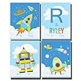 Space Bedroom Decor Boys Nursery Wall Art Rocket Ship Pictures Solar System Moon Stars Planets Astronaut Customize Name Letter Set 4 UNFRAMED Prints 8 x 10 inches