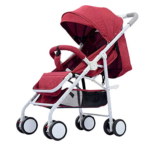 WYANAN Baby Stroller Sit Lightweight Portable Travelling Pram High Landscape Children Pushchair 4 Seasons Newborn Travelling Pram,Red