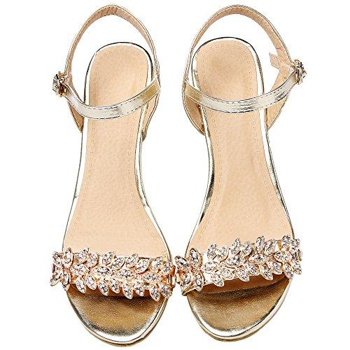 HooH Mujer Sandalias Peep Toe Lentejuelas Bling Rhinestones talón abierto Kitten Wedge Sandalias Gold