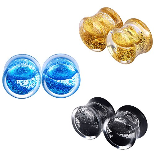 Lianrun 6Pcs Acrylic Fresh Mixed Colors Liquid Glitter Double Flared Ear Plugs Expander Tunnels Gauges16mm