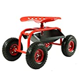 Sunnydaze Red Rolling Shop Cart with 360 Degree Swivel Seat & Tool Tray