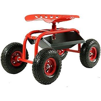 Good Sunnydaze Red Rolling Garden Cart With 360 Degree Swivel Seat U0026 Tray