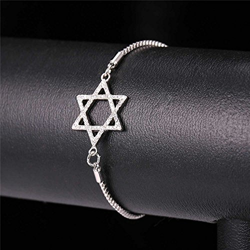 Jewish Jewerly Platinum Plated Star of David Necklace Bracelet Earring Ring Set With Cubic Zirconia- Ring Size 10