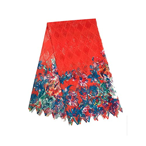 Lace Qin 5 Yards African Lace Milk Silk Fabric Embroidery Color Printed Pattern Lace Fabric Used for Costume Making Wedding Apparel Multipurpose (Red)
