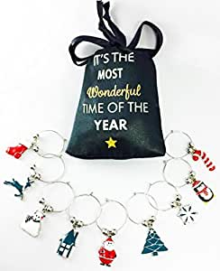 Optima Marketing Christmas Hand Painted Wine Glass Charms with Sateen Storage Bag, Set of 9