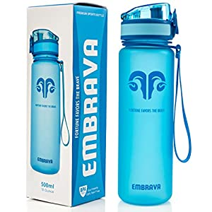 Best Sports Water Bottle - 18oz Small - Eco Friendly & BPA-Free Plastic - Fast Water Flow, Flip Top Lid, Opens With 1-Click (Blue)