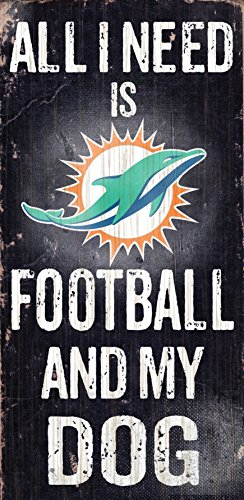 Miami Dolphins Wood Sign - Football and Dog 6x12