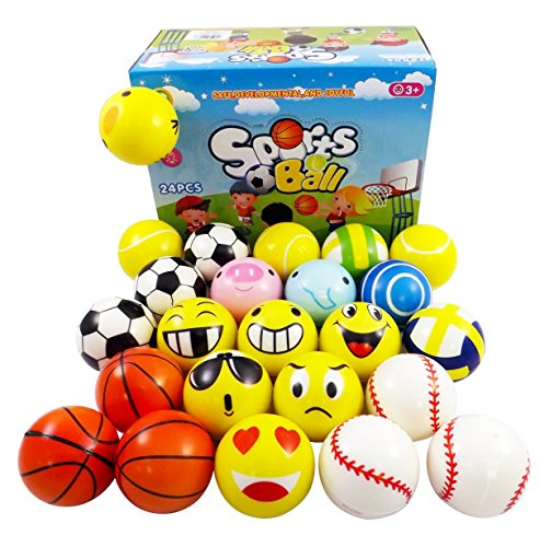 Set of 24 Mini Foam PU Sports Emoji Balls (Assorted) by Liberty Imports