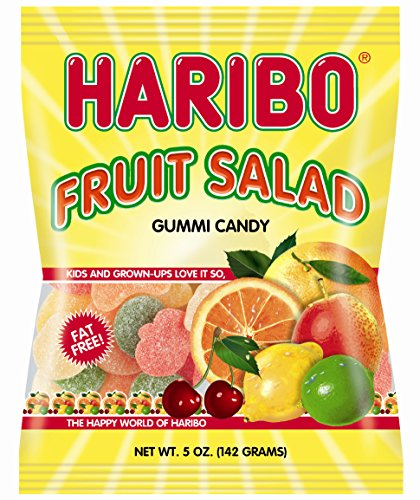 Haribo Gummi Candy, Fruit Salad, 5-Ounce Bags (Pack of 12)
