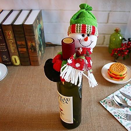 3pcs Pap/á Noel /& Mu/ñeco de nieve /& de Pap/á Noel Elf mu/ñeca botella de vino mantener la funda fiesta para mesa de Navidad decoraci/ón adorno