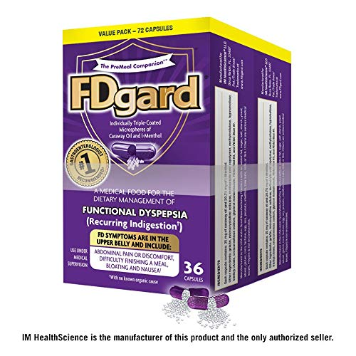 FDgard® for Functional Dyspepsia (Recurring Indigestion) Symptoms Including, Abdominal Pain & Discomfort, Nausea, Bloating, Difficulty Finishing a Meal, 36 Capsules (2 Pack)