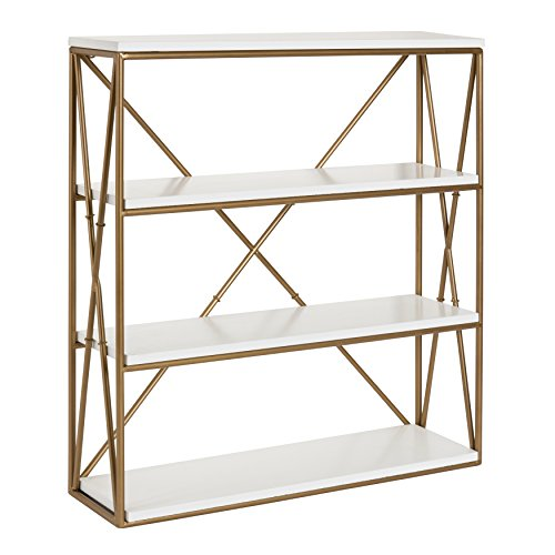 (Kate and Laurel Ascencio 4-Layer Modern Luxe Wooden Wall Shelves with Matte Gold Metal Frame and White Display Boards, 22x6x24.25)